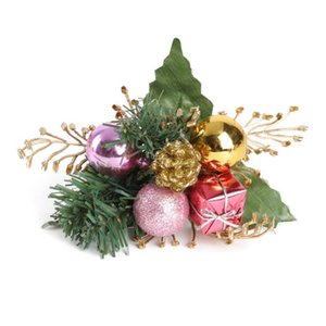 Christmas Artificial Xmas Tree Pine Fake Flowers Wreath Cone Gift Box Topper Ornament Flower Holiday Home Winter Decoration