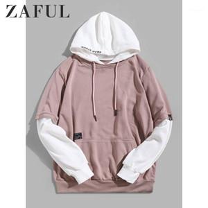 Zaful contraste falsificador de duas cores bordados 2 em 1 bolso frontal faux twinset cordão patchwork hoodie rosa rosa