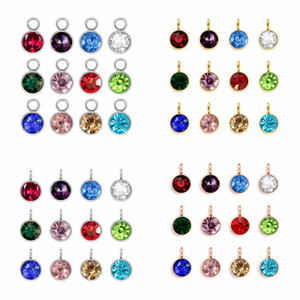 Stainless Steel Birthstone Charms Necklace Pendant Silver Rose Gold Color Hang Charms Pendant DIY Jewelry Free Shipping