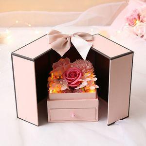 رومانسية روز زهرة هدية مربع مجوهرات مربع الصابون زهرة روز قرنفل عيد الأم هدية عيد الحب مع ضوء LED FFF4351