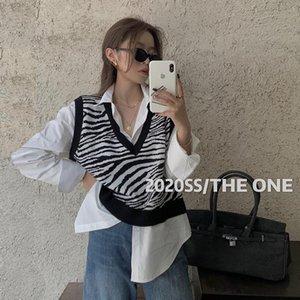 Women's Vests Korean Fashion 2021 Knitted Vest Jacket Autumn Winter Zebra Pattern Striped V-neck Sweater Top