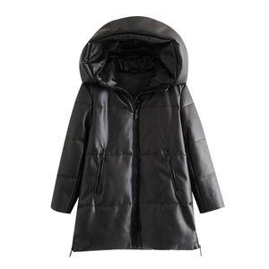 BBWM женщины зимняя мода густые теплые искусственные кожаные парки старинные с капюшоном длинный рукав мягкая куртка женское шикарное пальто 201027