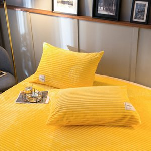 Magic velvet double-sided solid color four piece set crystal velvet quilt cover thickened flannel pillowcase bedspread