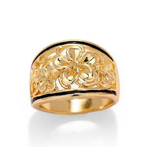 Band Rings of Fashion Colorful Crystal 14k Gold Plated Engagement Jewelry Flower Hawaiian Ring for Women Gift