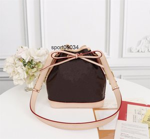 NO BB 40817 Sturdy Stylish Bucket Bag Coated Canvas Iconic Shape Drawstring Closure Women Adjustable Leather Strap Crossbody Shoulder Bag