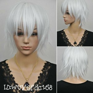 UK Grey Short Straight Anime party Cosplay Full Wig