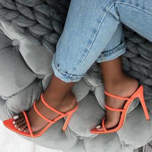 Yeeloca Yaz Floresan Renk Sivri Burun Stiletto Sandalet Süet Fishmouth Yüksek Topuklu Bayan Terlik Pompaları Artı Boyutu 35-42