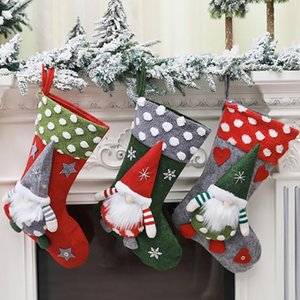 Large Christmas Stockings Pendant Cloth Ornaments Gift Bag Pendant Forest old man Doll Boots Christmas Party Home Decor Xmas