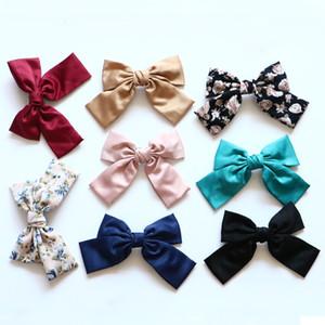 8 Unids / lote Nylon Big Bow KNOT Horquillero Mujeres Chicas Peluquería Barrette Accesorios Adornos de pelo Tocado Headwear WHZ01
