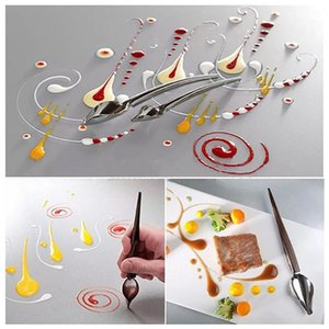 Acciaio inossidabile Mini portatile Chef decoro antiscivolo matita Accessori Draw Strumenti Caffè salsa Pittura Spoon Home Kitchen