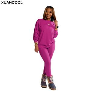 Xuancool Осенняя мода Классические твердые женщины набор двух частей набор Sportswear длинные брюки наряды трексуита соответствия 15 цветов