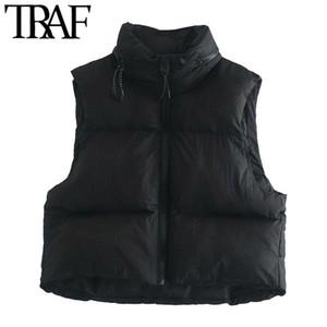 TRAF mujeres de moda con capucha oculta oculta interior acolchado acolchado chaleco vintage sin mangas con cremallera mujer ropa exterior chics