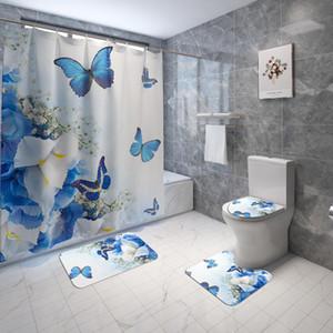 Flanell Badezimmer Teppiche Wohnkultur Badematte und Dusche Vorhang Set WC Badewanne Teppiche None Rutsche Badezimmer Teppich Toilette Bodenmatte HWE4659
