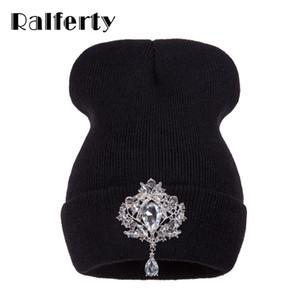 Ralferty Winter Women's Hats Luxury Rhinestone Crystal Accessories Headgear Beanie Hat Women Cap bonnet femme gorro 201026