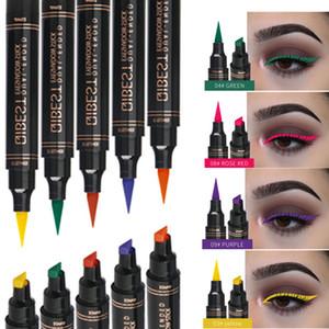 12 Цвет Eyeliner Stamp Карандаш водонепроницаемый макияж Стойкий Natural Eye Liner Матовый Жидкое Черный Красный Фиолетовый Зеленый Уплотнительные глаз