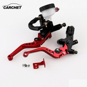 CARCHET 1 Pair Universal Motorcycle Hand Brakes Aluminum Alloy Oil Cup Motorcycle Hydraulic Clutch Handbrake Red Free Shipping qNUs#
