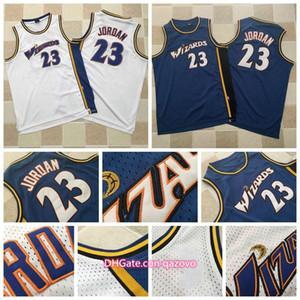 Mitchellerie Vintage Mens WashingtonWizardsnba23 Michael MJBalles bleues blanches maillées de maille blanche maillots de basketball cousus
