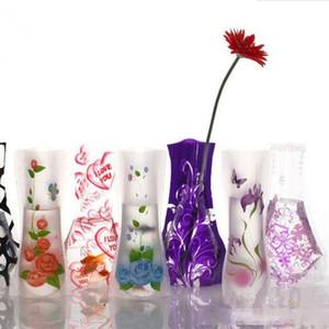 12*27cm Creative Clear Eco-friendly Foldable Folding Flower PVC Vase Unbreakable Reusable Home Wedding Party Decoration