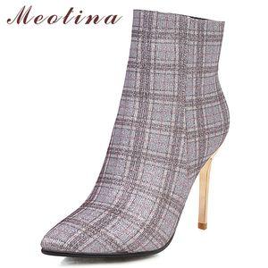 Meotina Kış Ayak bileği Kadınlar Glitter Stiletto Kısa Çizme Karışık Renkler Süper Yüksek topuk ayakkabı Bayan Büyük Beden 33-43210 Güz
