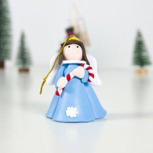 Ángel Navidad colgante suave arcilla ángel muñeca árbol de navidad ornamento rosa azul falda chica colgando decoración Ewa1939