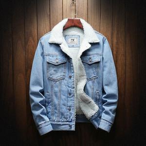 Homens Winter Jean Jaquetas Casacos Aqueça Denim Coats New Men Tamanho Grande Wool Liner Thicker Inverno Denim Jackets Plus Size XS-6XL 1111