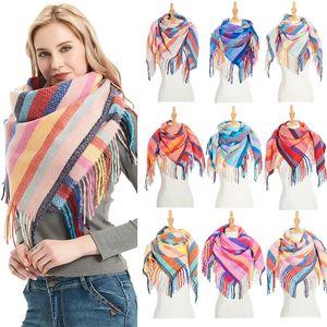 Sparsil женщин Осень нашивки кашемира шарф двойной размер кисточкой Шаль пашмины Теплый шейный треугольник Foulard Одеяло Бандана Winter 201018