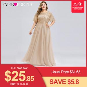Plus Tamanho Vestidos de Noite Lantejoulas Longo Longo Bonito A-Linha O-pescoço Tule Elegante Vestidos Formal de Noite Vestido Noche Elegante 2020 C1111