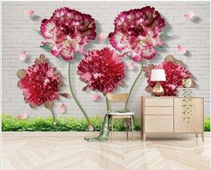 Custom photo 3d wallpaper Modern minimalist 3d flower brick wall background living room wall murals wallpaper for home decor