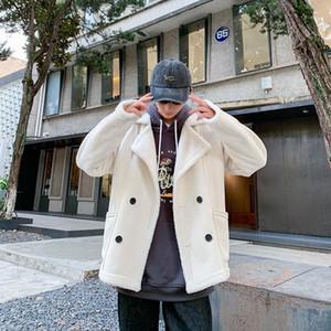 2019 Uyuk Kış Moda Stil Kısa Kürk Entegre Sıcak Genç Adam Saf Renk Kuzu Yün Ceket Homme Masculino Giyim1