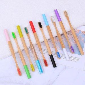 1PC el medio ambiente de madera del arco iris Cepillo de dientes Cepillo de dientes de bambú de fibra de bambú mango de madera cepillo de dientes que blanquea arco iris GWE1982