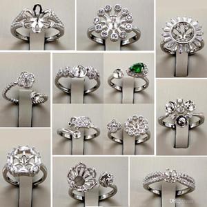 12 Стили Pearl Ring 925 Щепка Кольца Настройки Diy Pearl Ring для женщин Diy кольца Регулируемый размер Jewelry Settings Заявление ювелирные изделия
