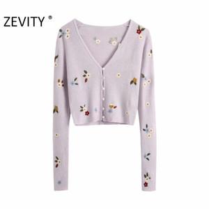 Zevity neuen Frauen Art und Weise V-Ausschnitt Blumenstickerei Strickjacke stricken Pullover Damen lange Hülse beiläufige Pullover schicke Tops S402 Q1114