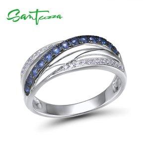 Santuzza Silver Anneaux Pour Femmes Pure 925 Sterling Sterling Bleu Blanc Cubic Zirconia Mariage Anneaux de fiançailles Mode Chic bijoux 201006