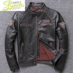 Véritable manteau de peau de mouton 100% hommes automne vêtements en cuir pour hommes veste en cuir pour hommes 2021 Streetwear Moto Bliker Cuirs véritables 790