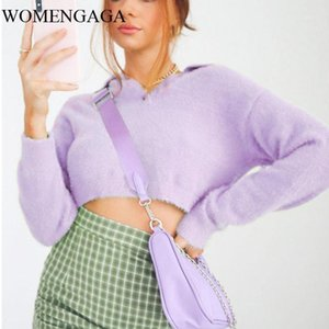 Womengaga Automne Hiver Femmes Turn Collier Fluffy Croppy Cropped Jumper Fuzzy Crotched Pull Rugm1