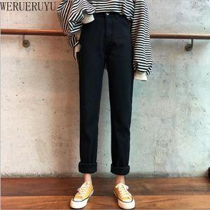 WERUERUYU теплая зима Плюс Размер Тонкий джинсы Женщины Stretch Джинсовые брюки Толстый флис Student Брюки Black