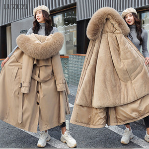 LUZUZI Women's Winter Jacket Hooded X-Long Thick Warm Cotton Padded Parkas Woman Wool Liner Distachable Plus Size Jackets Coat 201124