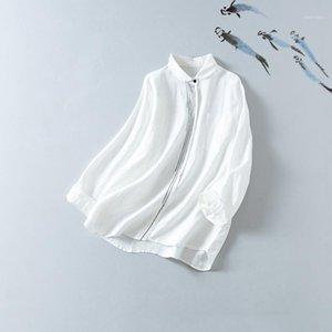 Chkemo Xia'nın Orijinal Kalp 2020 Sezon Basit Sanat El Işlemeli Keten Gömlek Kadın Malzeme Botting Top1