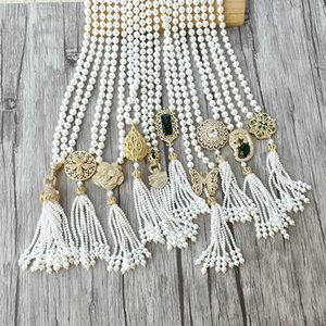 1Pcs Handmade golden charm Pendant zircon CZ Micro pave Connector,Natural Shell Pearl Beads Chain tassels Women Jewelry Necklace Y200918