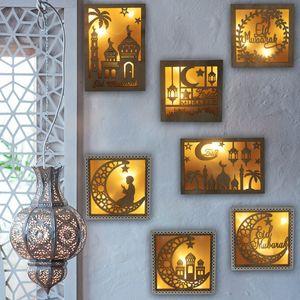 Hollow Moon Pattern LED Luz de madera Lámpara de DIY para Ramadán Eid Mubarak Islam Muslim Craft Decoración para el hogar Festival Festival Festival