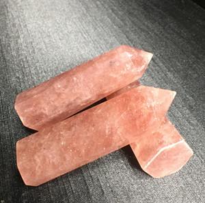 Natural Fresa Varita de piedra Cuarzo rojo Cuarzo Punto de piedra CRISTAL WAND ROCA Curación Regalo de cristal pulido WMTGKY XHIGHT