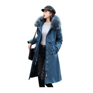 Women Long Winter Jacket Hooded Fur Collar Windproof BIO Down Coat Oversize Cotton padded Parkas Casaco Feminino