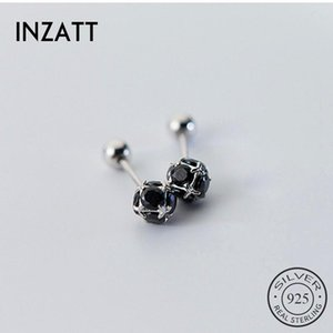 INZAReal 925 Sterling Silver Minimalist Zircon Round Stud Earrings For Fashion Women Party Fine Jewelry Accessories Gift
