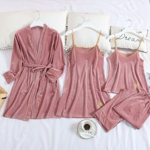Pajamas Sexy Gold Velvet Robe 2019 New Winter Embroidered Suspenders Female Long-sleeved Tracksuit Pants Four-piece Suit Gold Velvet Robe e