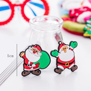 6 Colors Christmas keychain Men Women Pendant Couple Key Ring Ornaments key chain Christmas Xmas Gift Giveaway OWD2192