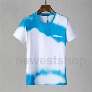 Дизайнер роскошь для Mens одежды Tshirts Мода лето Классического письма печать небо облака простого Повседневного шея майк Tee Top футболки