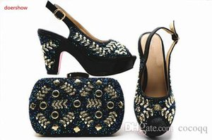 Italian Ladies Shoes and Bags To Match Set Decorated with Rhinestone Nigerian Women Wedding Shoes and Bag Sets HX1-17