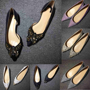rivet Glitter Red Bottom Spiked Flat shoes Women Red Sole Shoes Sequins heels Party Wedding Shoes Pointed Toe Pumps 35-42