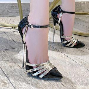 Extreme High Heels 16cm Couleurs mélangées avec boucle cheville Chaussures Femme modèle Voir Party Femme Sandales Stiletto talon Chaussures Big Taille Pompes 201028
