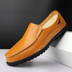 Genuine Leather Men Casual Shoes Mens Loafers Moccasins Breathable Slip on Black Driving Shoes Plus Size Comfort